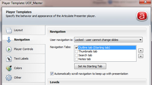 Help with Locked Navigation in Presenter - Player Templates ...