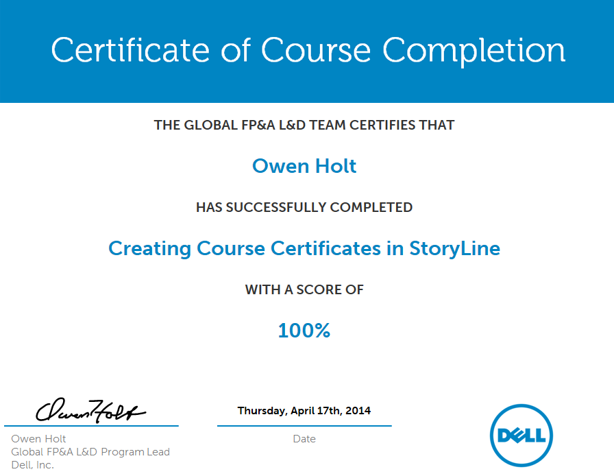 Create a course certificate in storyline with java and for Css certificate template