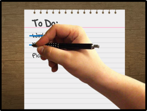Create an effect of a hand with pen, crossing off items on a list