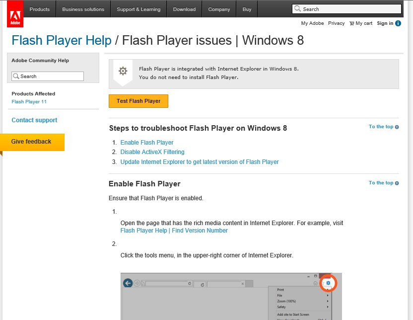 Engage in Windows 8 - Flash problems     - Articulate Engage