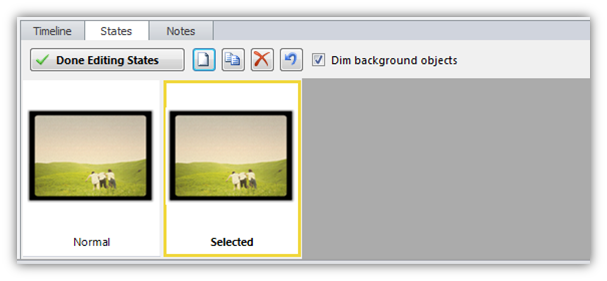 Image of a selected state being created in Storyline