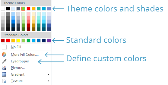 to see your gallery of theme colors go to the design tab on the storyline ribbon and click colors