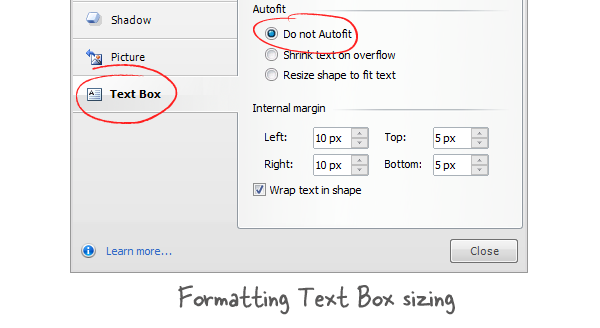 how to make text continue from where shape ends publisher