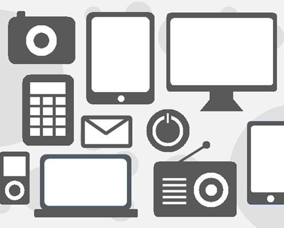 technology icon set - downloads