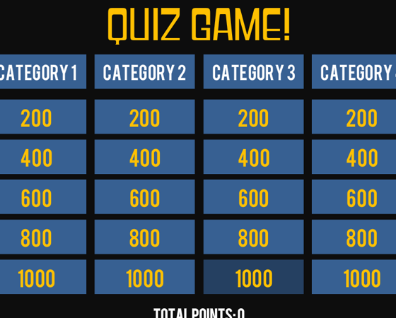 Storyline 360 quiz game show template for Jeopardy template with sound effects