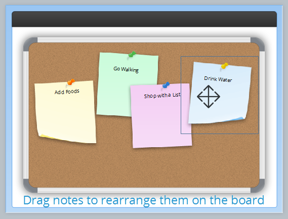 Simply drag notes in the preview panel to rearrange them on the bulletin board.