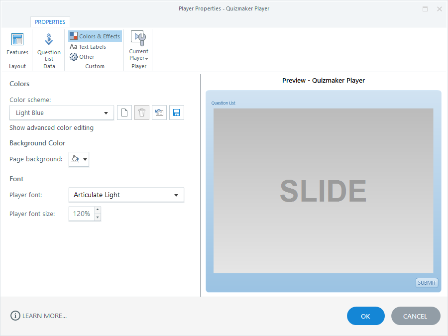 Color and Font Properties in Articulate Quizmaker 360
