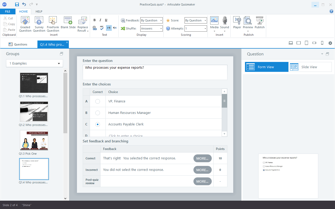 Form View in Articulate Quizmaker 360