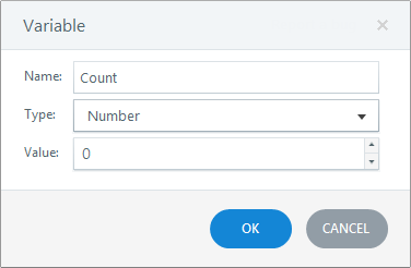 Give your variable a recognizable name, choose a variable type, and enter a default value