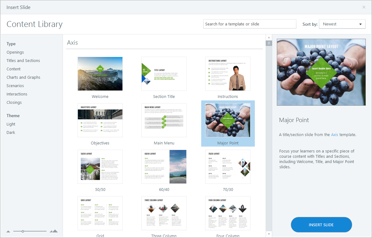 Content Library 360 Template Browser