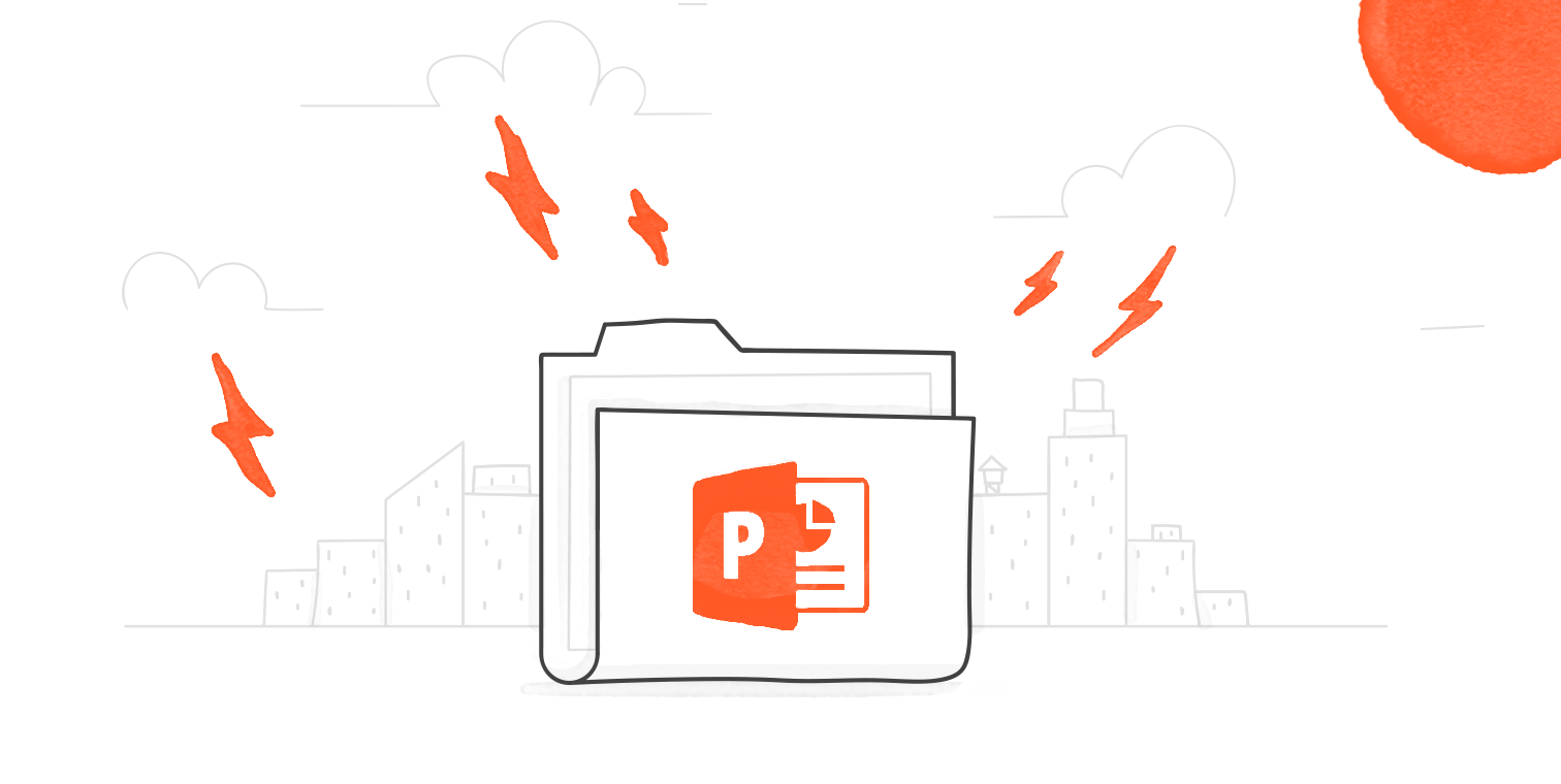 illustrated hero image of a folder with the PowerPoint logo