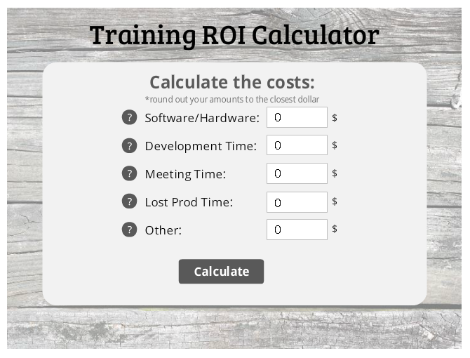 Storyline 2 Return on Investment calculator - Looking for