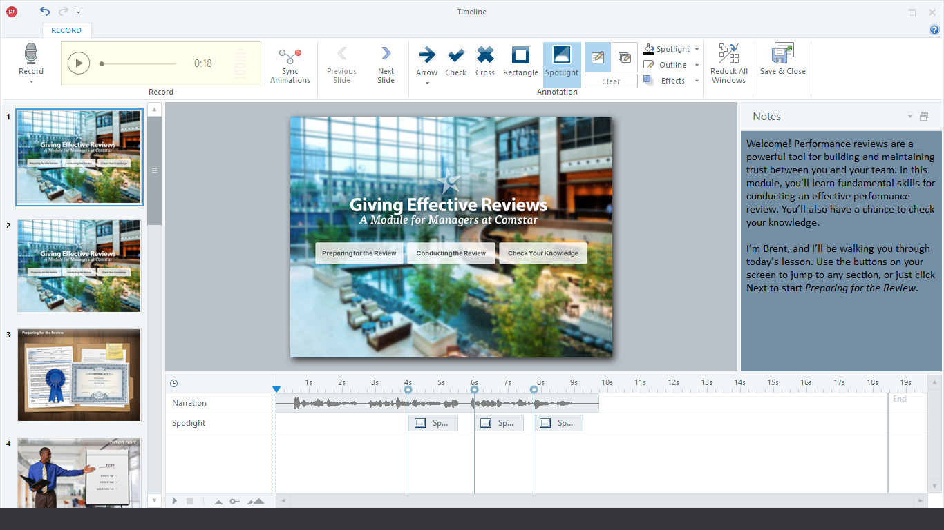 Consolidated Narration Window in Articulate Presenter 360