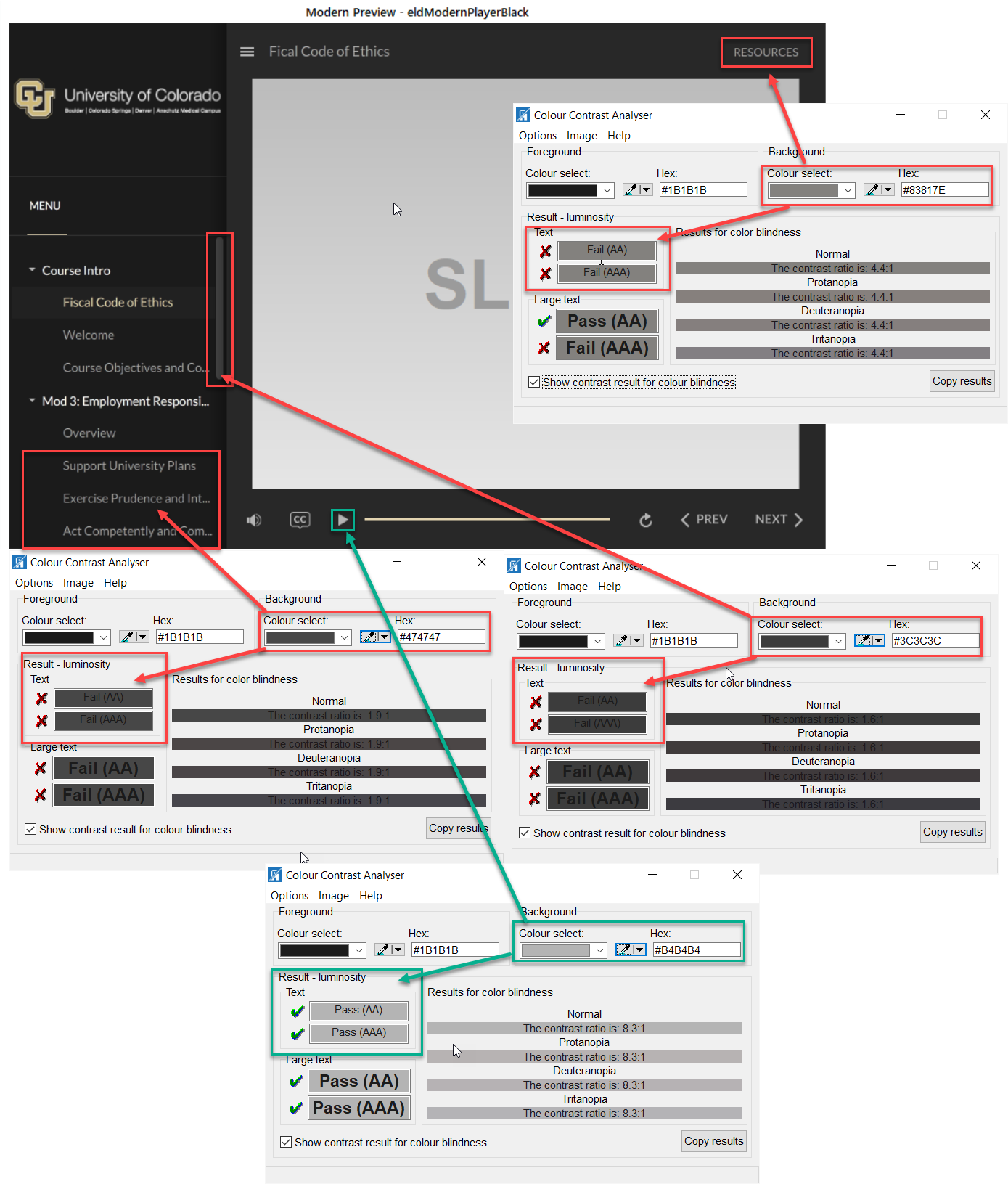 WCAG contrast analysis of Modern Player - Dark Theme
