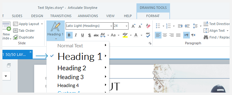 The text style drop-down list with a checkmark identifying that the Heading 1 style is currently selected