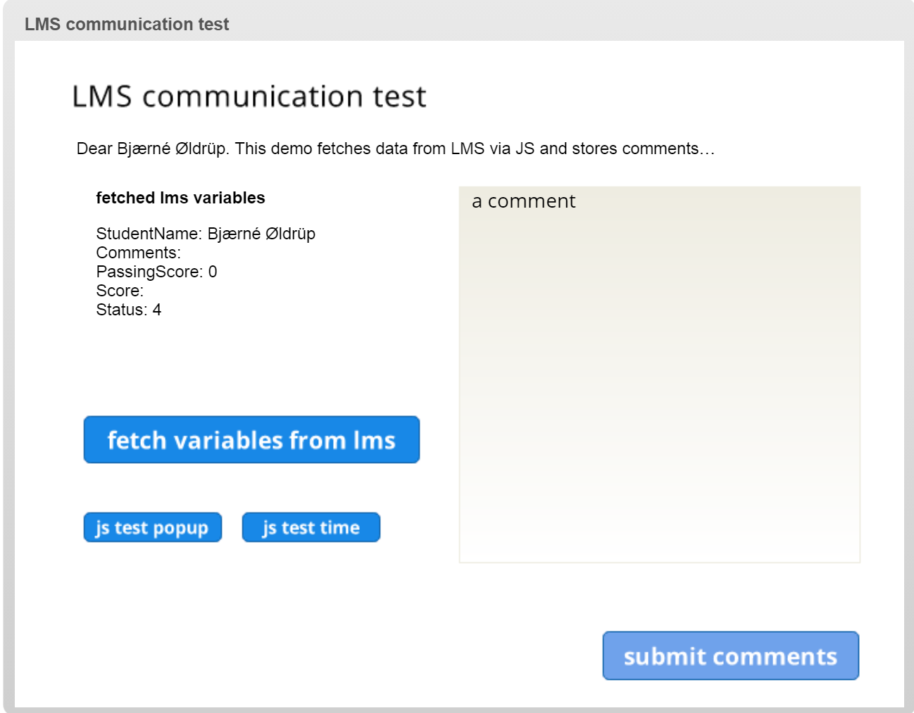 Scorm 1 2 LMS communication and feedback using javascript and lmsAPI