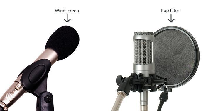 Pop screens and wind filters for e-learning