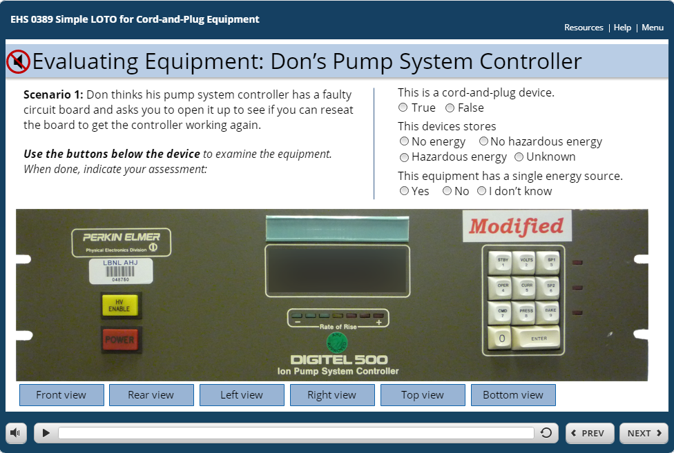 LBNL Simple LOTO for Cord and Plug Devices (screen capture)