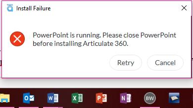 Articulate 360 install error