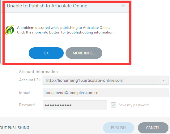 unable to publish to Articulate online