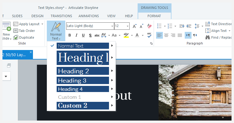 Previewing text styles in Storyline 360