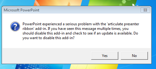 PowerPoint crash message