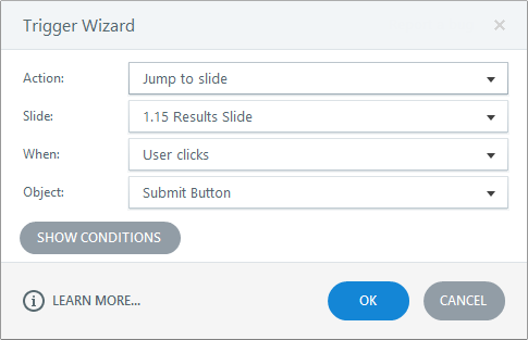 Add a trigger that jumps to the quiz result slide
