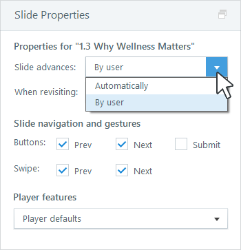 Advance slides automatically or by user.