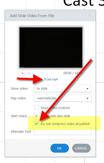 Do not compress video at publish