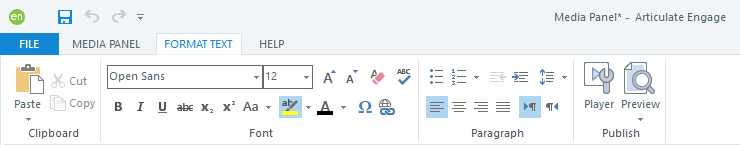 Format Text Tab on the Articulate Engage 360 Ribbon