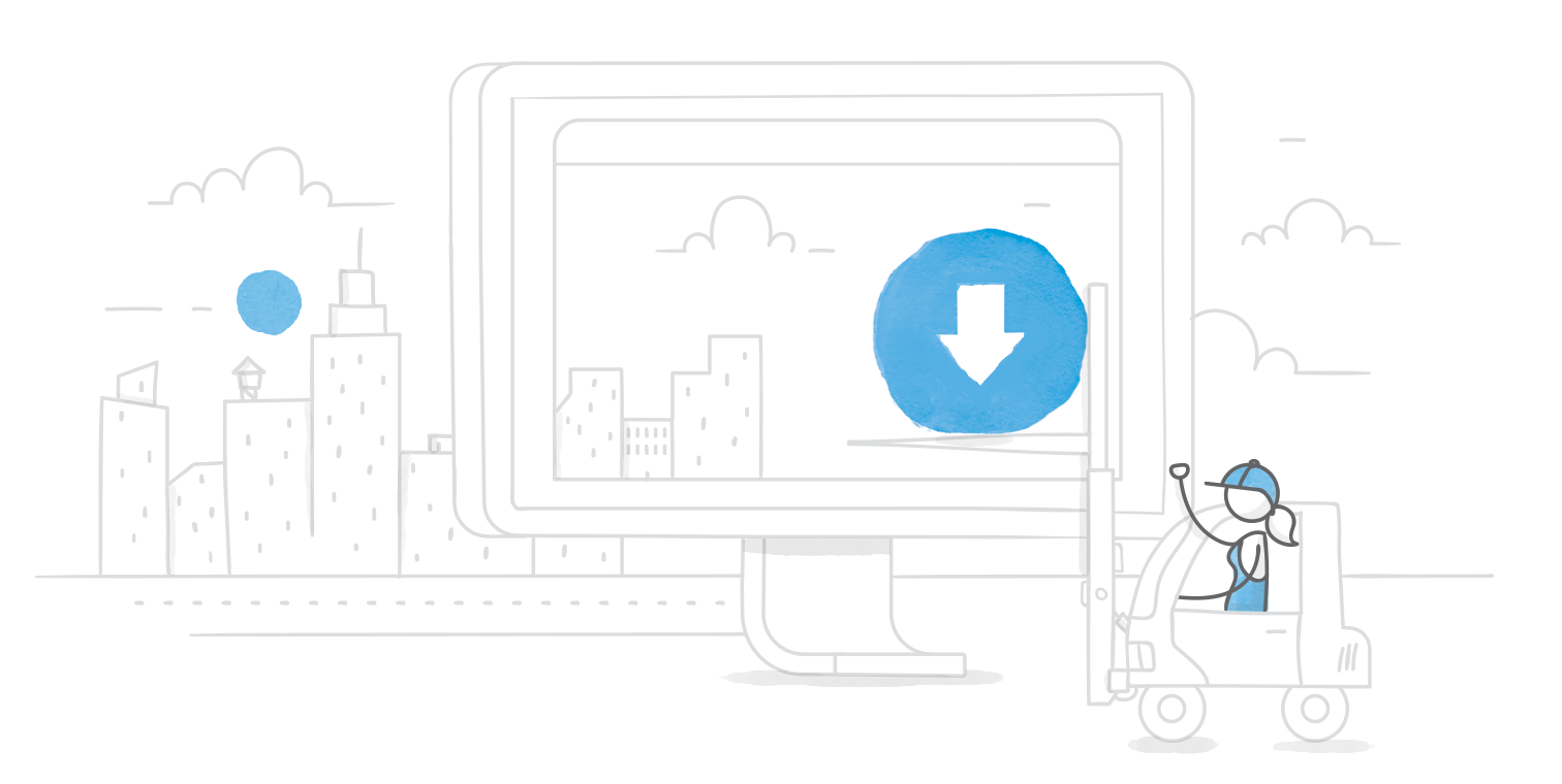 illustrated hero image of a character in a forklift moving a download icon into a giant monitor