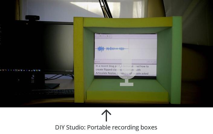 Portable studio boxes for e-learning audio recording
