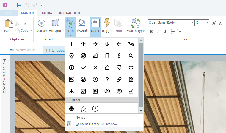 Marker icon selection window.
