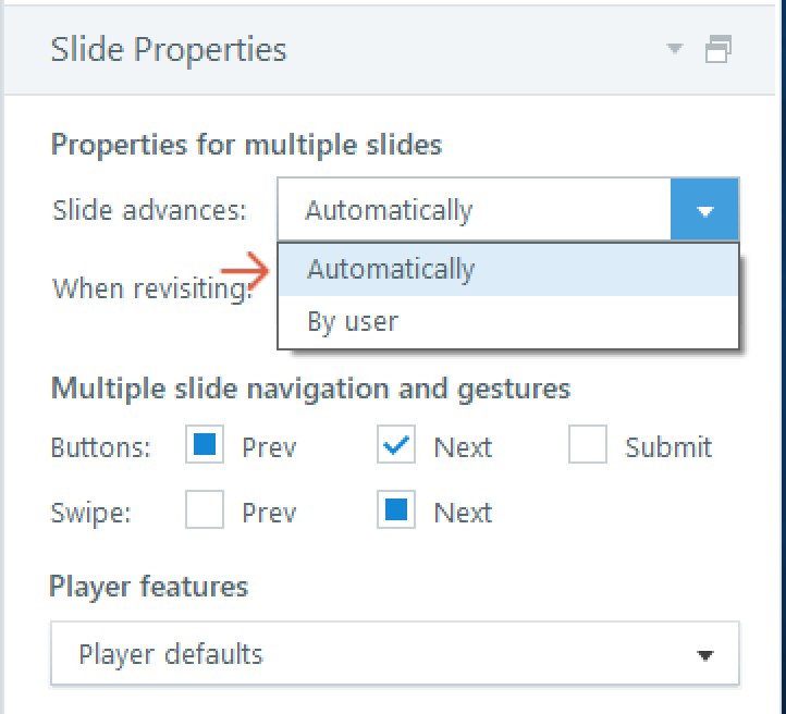 Slide Properties in Story View
