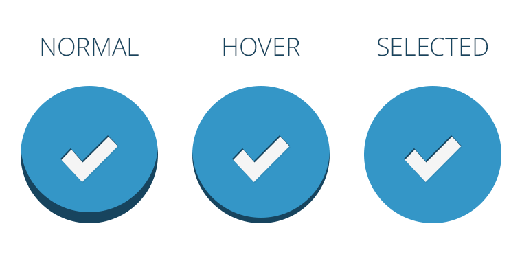 Button States: Normal, Hover, Selected