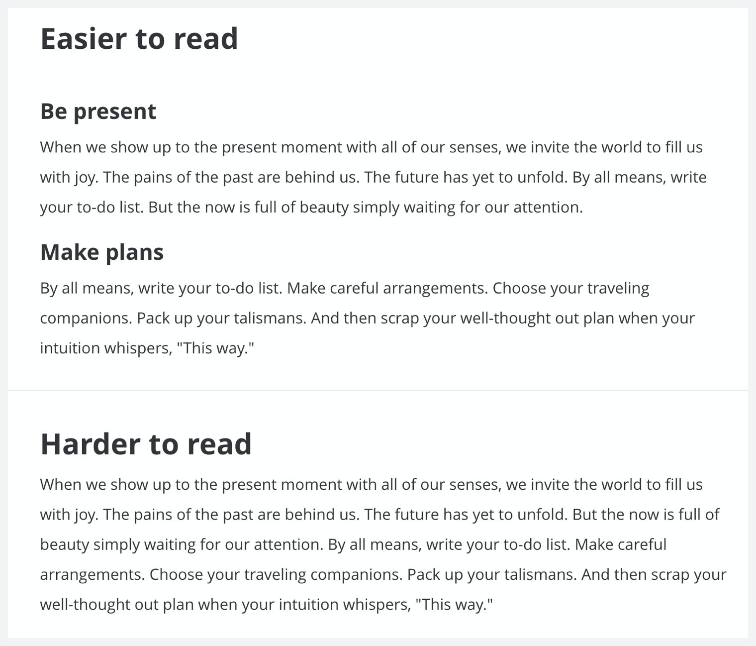 Image showing how headings improve readability