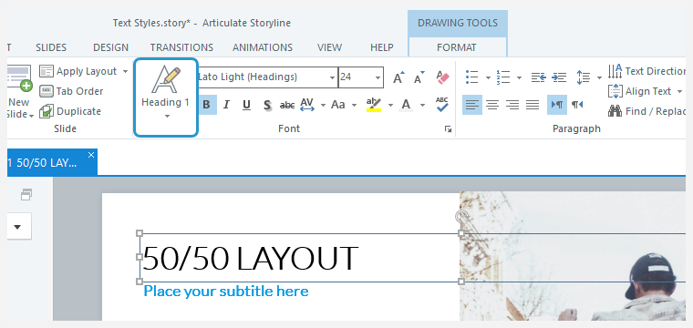 Look at the Text Styles button to identify which style is applied to the selected text