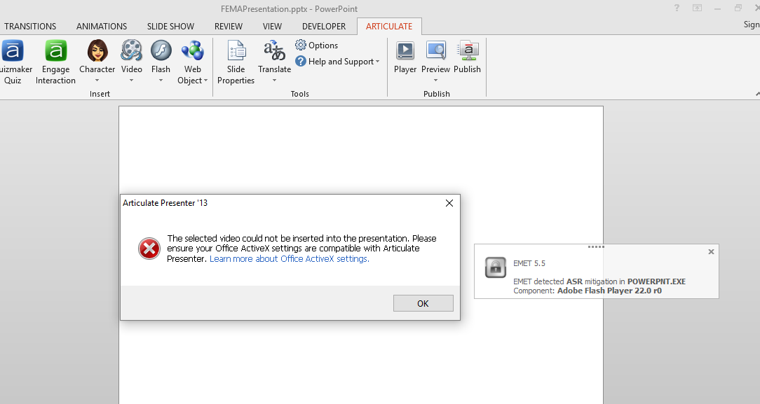 Inserting Video into PowerPoint ActiveX Error - Articulate Presenter