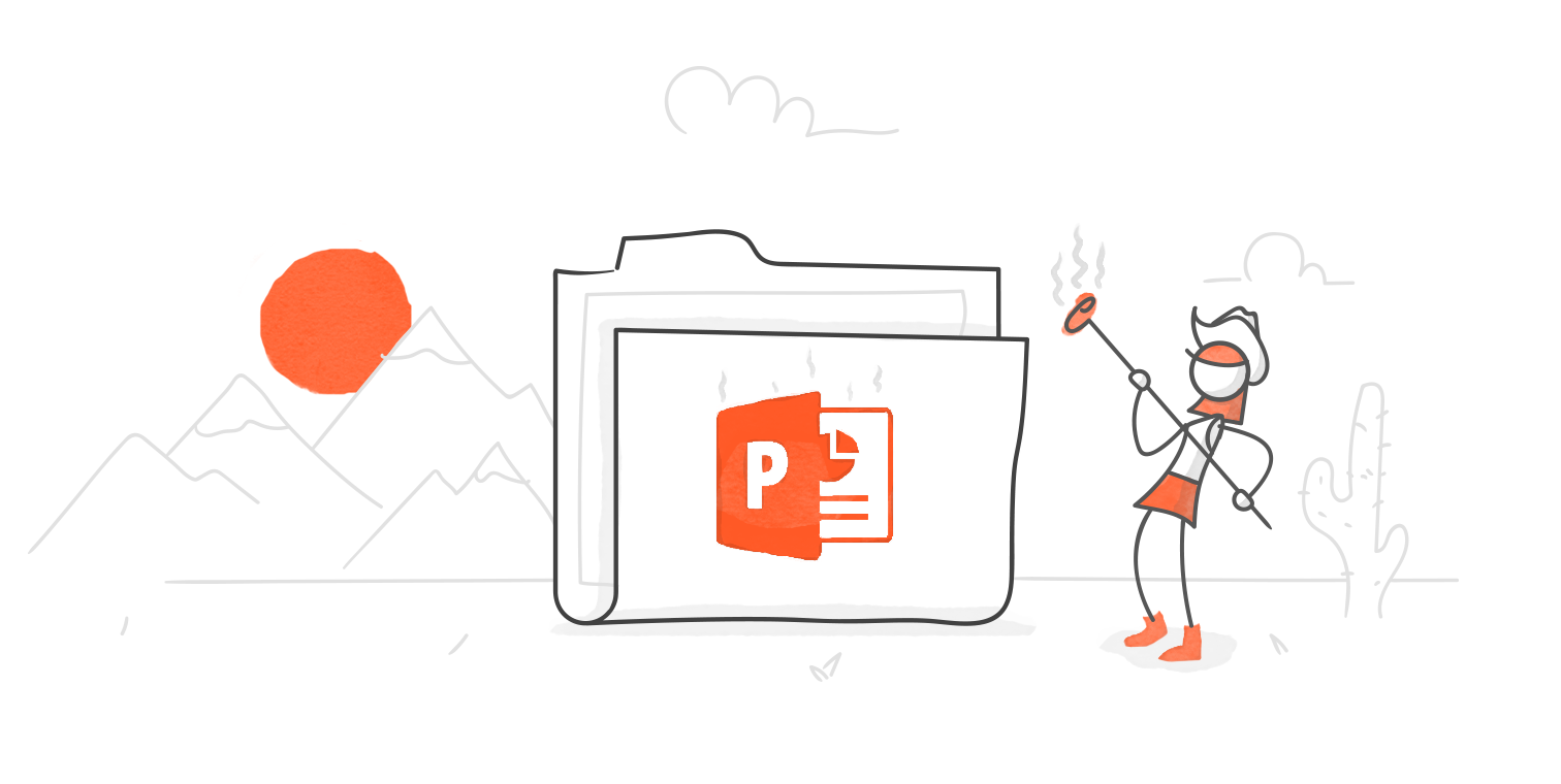 hero illustration of a character holding a steaming brand having just pressed it against the front of an oversized folder which now bears the PowerPoint logo
