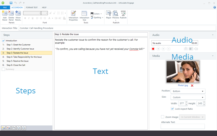 Articulate Engage 360 editor for accordion interactions