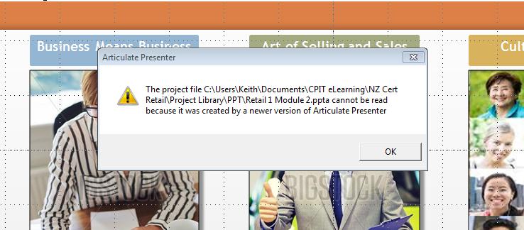 Screenshot of Articulate  Presenter error message