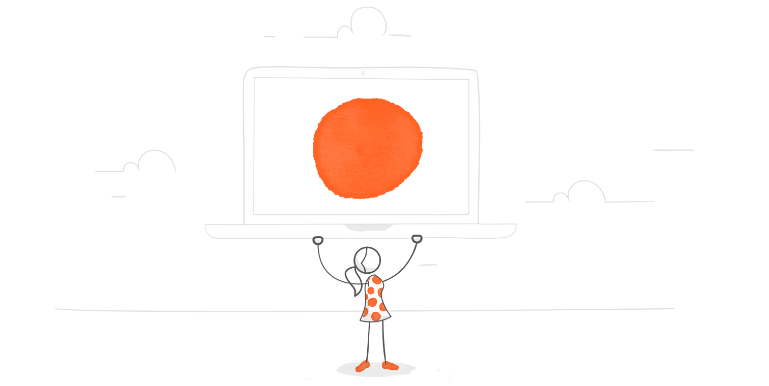 illustrated hero image of a character hoisting a laptop displaying a red dot above her head