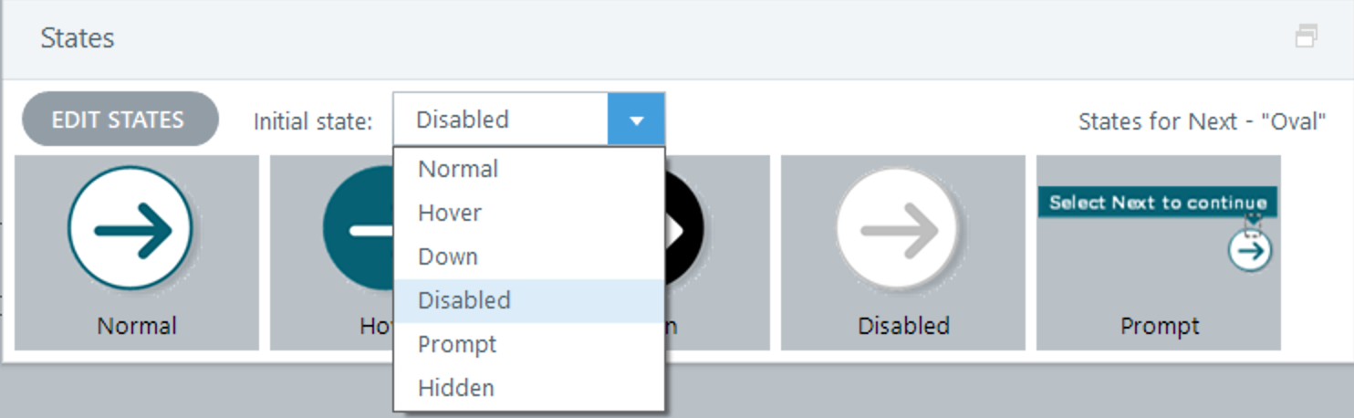 Disabled state on button