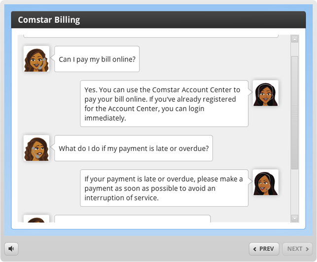 Example of a conversation interaction in Articulate Engage 360