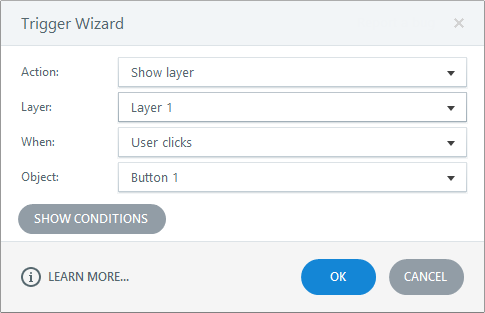 This is what the trigger wizard looks like in Articulate Storyline 3
