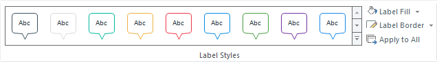 Use the Format tab on the ribbon to change the styles, colors, and effects for your marker labels