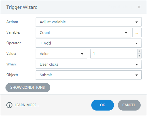 Use the trigger wizard to adjust variables, perform calculations, and trigger actions