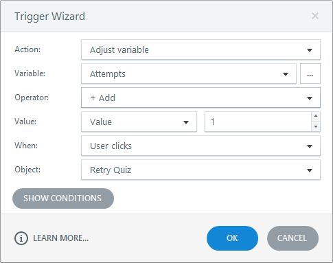 Add a trigger to the Retry Quiz button that adjusts the Attempts variable