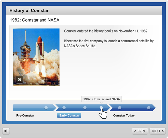 Example of a timeline interaction in Articulate Engage 360