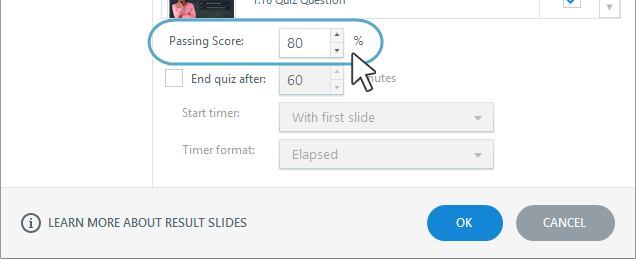 How to set the passing score for a quiz result slide in Articulate Storyline 360